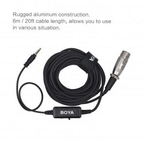 Microphone BOYA BY-BCA6 XLR 3.5mm Plug Câble pour iPad iPhone iPod Touch et autres appareils mobiles