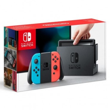 Console Nintendo Switch avec un Joy-Con droit rouge néon et un Joy-Con gauche bleu néon